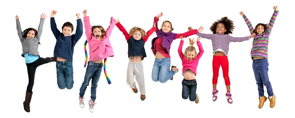 A Group Of Kids jumping